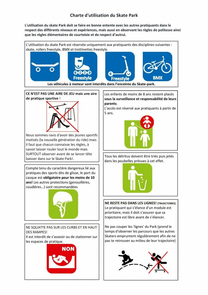 Charte skatepark Aix les Bains