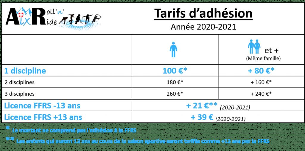 Aix Roll'n'Ride - Tarifs 2020-2021